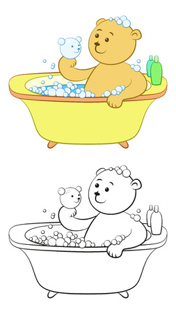 Cartoon Teddy Bear Washes in the Bath, Soap Bubbles, Shampoo, Hold in Hand a Bubble in the Form of a Bear Head. Color Version and Black Contours Isolated on White Background. Vector Illustration