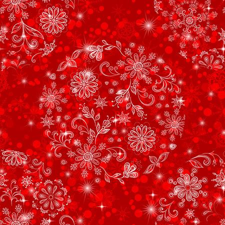 星とアウトラインを白雪と花のパターンの透明な球と休日のデザインのクリスマス赤瓦のシームレスな背景。Eps10 には、透明度が含まれています。