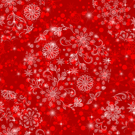 Christmas Seamless Red Tile Background for Holiday Design with Stars and Transparent Balls of White Outline Snowflakes and Floral Patterns. Eps10, Contains Transparencies. Vector