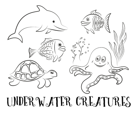 Nahtloses Muster, Karikatur-Meerestiere, Delphin-, Fisch ...
