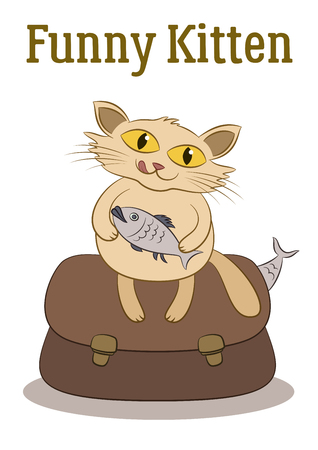 Funny Cartoon Cat Keeps the Fish in its Paws and Sits on a Bag Full of Fish, Isolated on White Background. Vector
