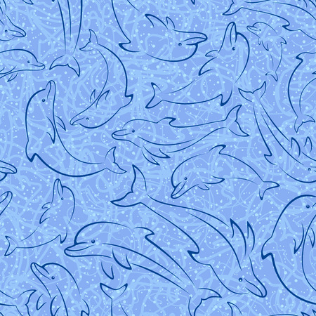 Seamless Pattern, Sea Creatures, Animals Dolphin Outline Pictograms, Blue Contours Isolated on Tile Background. Vector