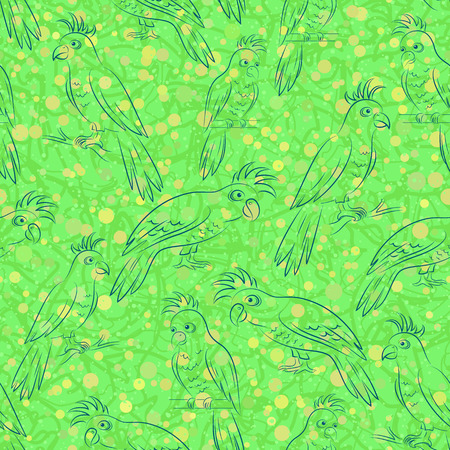 Seamless Pattern, Cartoon Birds Parrots, Outline Pictograms, Contours on Tile Green and Yellow Background. Vector Illustration