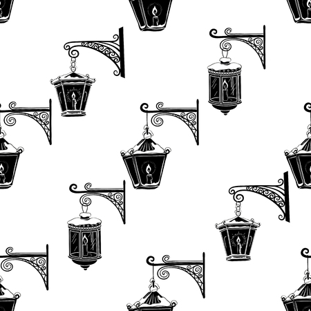 Vintage Street Luminescent Lanterns Hanging on a Decorative Brackets. Illustration