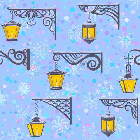 Seamless Pattern of Vintage Street Luminescent Lanterns Hanging on a Decorative Brackets on Tile Blue Background with White Snowflakes. 向量圖像