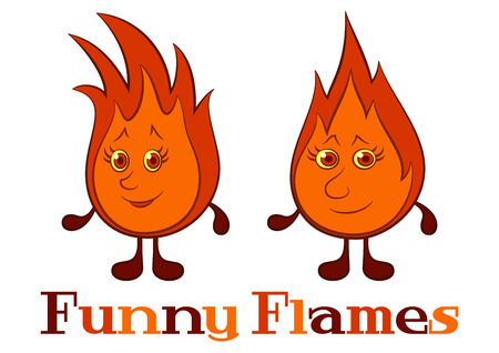Cartoon Funny Flames with Red Hair.