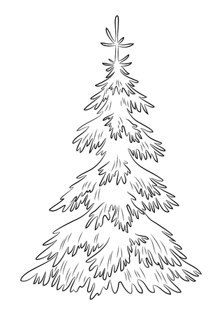 Christmas Fir Trees, Symbolical Pictogram, Black Contours Isolated on White Background. Vector