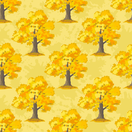 Seamless Pattern, Oak Tree, Season Autumn, on Tile Yellow Background. Vector