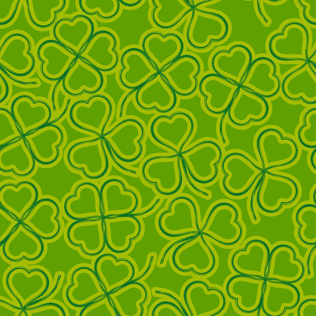 Seamless Floral Saint Patrick Holiday Pattern, Symbolic Clover Plants, Three-Leaved and Four-Leaved, Green and Yellow Contours on Tile Background. Vector Illustration