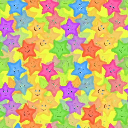 Seamless Pattern for Childish and Holiday Design, Colorful Cartoon Stars Smiley with Different Emotions Tile Background.