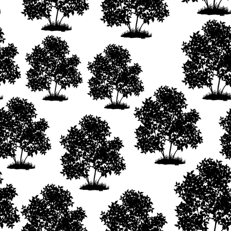 Seamless Pattern, Lilac Bush Black Silhouette Isolated on Tile White Background. Vector