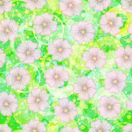 Seamless Floral Pattern, Mallow Flowers on Abstract Tile Background with Circles and Rings. Vector