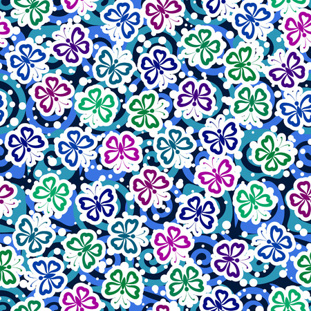 Seamless Background, Tile Pattern of Symbolical Colorful Butterflies. Vector
