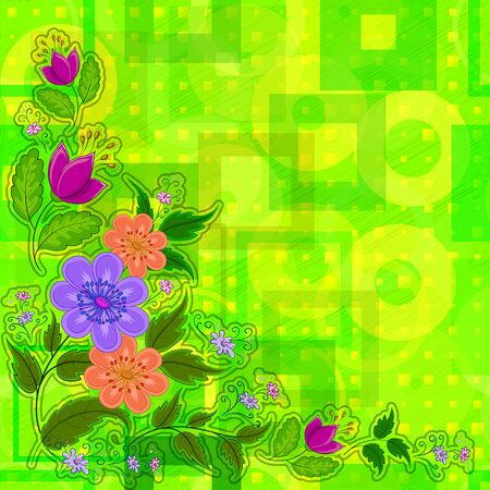 Flowers and Leafs on Abstract Yellow Green Background with Circles and Squares. Vector Illustration