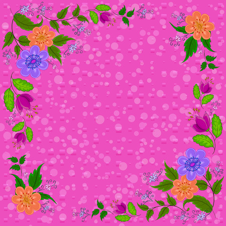 Frame from Flowers and Green Leafs on Pink Background. Vector Illusztráció