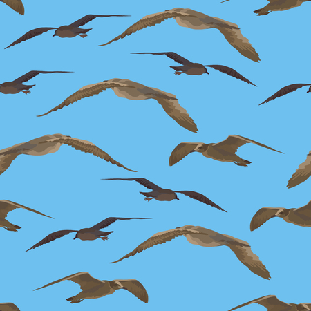 Blue background with brown flying birds illustration