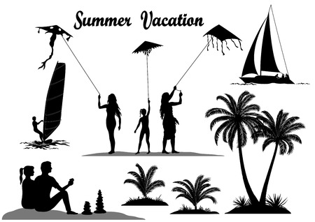 Summer Vacation Set. People with Kites, Surfer in the Sea, Tropical Palm Trees and Exotic Plants, Sailboat, Black Silhouettes Isolated on White Background. Vector