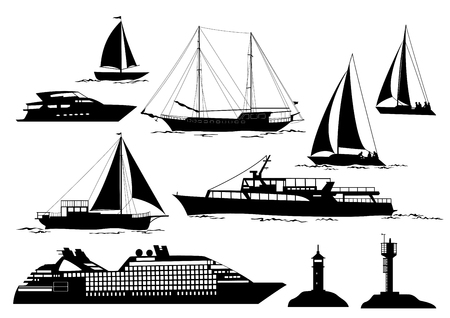 Set of Marine Vehicles and Objects on Sea and Ocean, Ship, Sailboat, Yacht, Lighthouses, Black Silhouettes Isolated on White Background. Vector Vettoriali