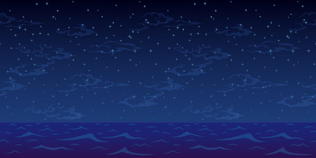 Horizontal Seamless Landscape, Night Blue Sea and Sky with Stars and Clouds. Vector Ilustração