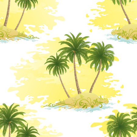Islands with Palms Trees on Abstract White and Yellow Background.