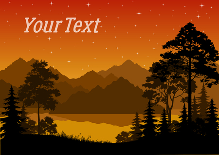 Night Landscape, Forest, Coniferous and Deciduous Trees Silhouettes, lake or river, Mountains, Orange Sky with Stars. Vector Ilustrace