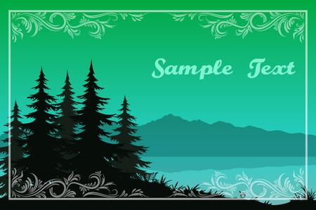 Nachtlandschaft, Green Mountains See oder Fluss, Tannenbäume schwarze Silhouetten und Rahmen mit Blumenmuster. Vektor