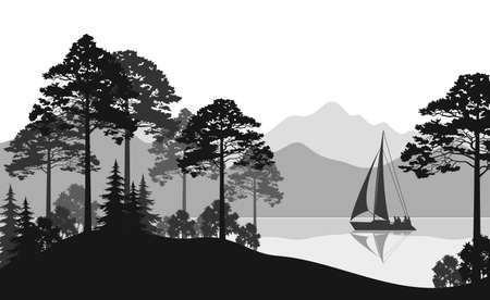 Landscape with Sailboat on a Mountain Lake, Fir Trees, Pines and Bushes, Black and Grey Silhouettes. Vector