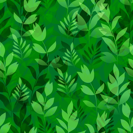 Seamless Pattern, Landscape, Summer or Spring Meadow, Green Grass, Leaves and Flowers Silhouettes, Tile Natural Floral Background. Vector