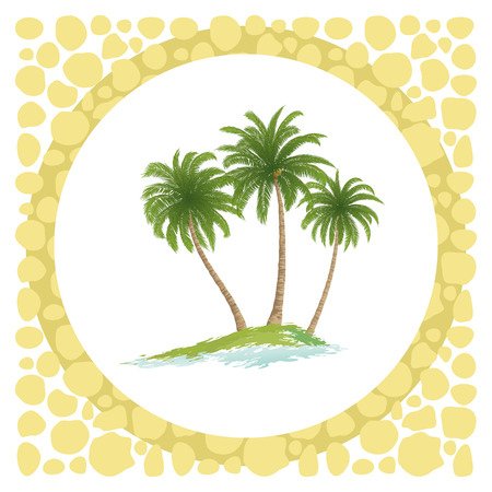 Exotic Landscape, Sea Island with Green Tropical Palm Trees and Circle Frame. Vector