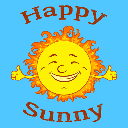 Cartoon Happy Smiling Sun on Blue Sky Background. Vector