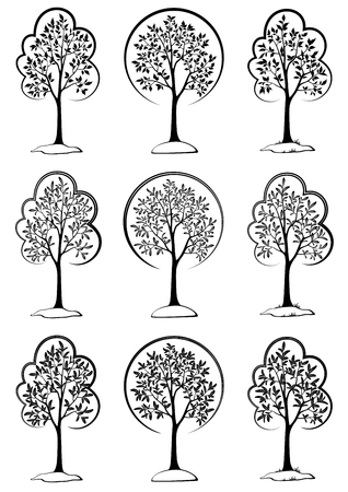 Landscapes, Symbolic Trees Outline Black Pictograms Isolated on White Background. Vector Ilustrace
