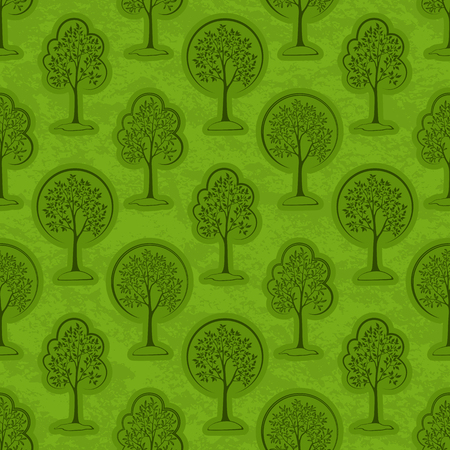 Seamless Pattern, Forest, Trees Outline Pictograms on Green Tile Background. Vector
