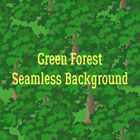 Seamless Natural Pattern, Landscape, Summer or Spring Forest, Trees with Brown Trunks and Green Leaves, Tile Background. Vector