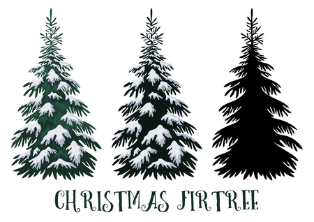 Christmas Fir Tree, Green with White Snow and Black Silhouette Isolated on White Backgrounds. Vector