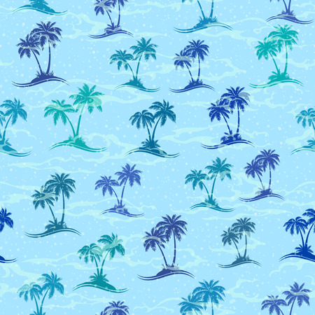 Exotic Seamless Pattern, Tropical Landscape, Sea Islands with Palms Trees Green and Turquoise Silhouettes on Blue Tile Background. Vector Illustration