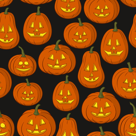 Seamless Pattern, Pumpkins Jack O Lantern, Symbol Halloween Holiday, Isolated on Tile Black Background. Vector