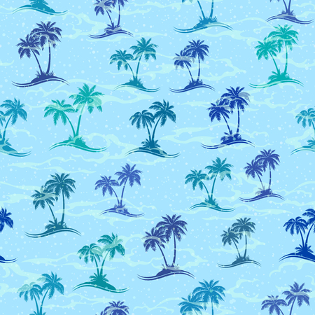 Exotic Seamless Pattern, Tropical Landscape, Sea Islands with Palms Trees Green and Turquoise Silhouettes on Blue Tile Background. Vector Ilustrace