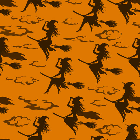 Seamless Halloween Pattern, Witch Flight on a Broomstick, Black Silhouettes against a Sky with Clouds, Tile Holiday Background. Vector