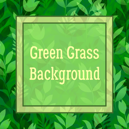 Floral Background, Landscape, Summer or Spring Meadow, Green Grass, Flowers Silhouettes and Frame for Your Text. Vector