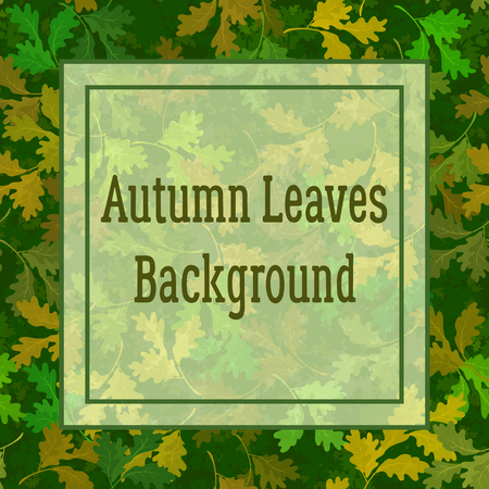Floral Background, Summer and Autumn Oak Leaves and Square Frame for Your Text. Vector