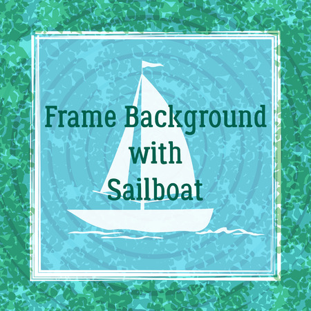 Sailboat Swims across the Ocean, River or Lake, White Silhouette on Abstract Blue and Green Background with Rings and Square Frame. Vector Ilustrace