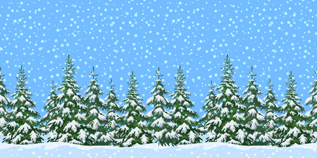 Christmas Holiday Seamless Horizontal Background, Winter Landscape, Green Fir Trees and Blue Sky with White Snow. Vector
