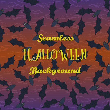 Seamless Halloween Holiday Pattern, Bats Fly in the Night Sky. Vector Ilustrace