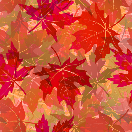 Seamless Background, Tile Pattern of Red Autumn Maple Tree Leaves. Vector Ilustrace