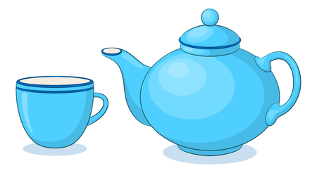Blue China Teapot and Cup, Isolated on White Background. Vector Vettoriali