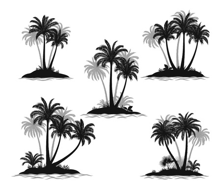 Set Exotic Landscapes, Sea Islands with Palm Trees, Tropical Plants and Grass Black Silhouettes Isolated on White Background. Vector