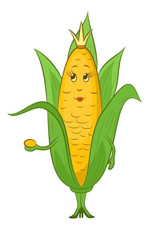 Cartoon Maize Corn, Character Queen with a Golden Crown on Her Head, Isolated on White Background. Vector Illusztráció