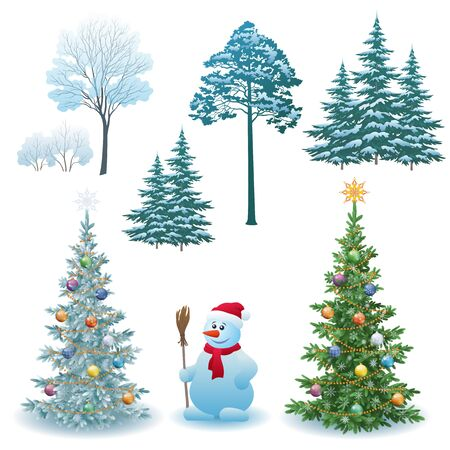 Christmas Holiday Set, Fir Trees with Festive Decorations, Winter Green and White Trees and Bushes with Snow, Cartoon Snowman in a Red Santa Claus Hat. Vector