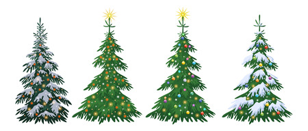 Set Christmas Holiday Fir Trees with Decorations, Stars and Snow Isolated on White Background. Vector Illusztráció