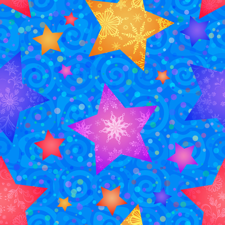 Christmas Seamless Blue Pattern for Holiday Design Colorful Stars with Flowers and Snowflakes on Tile Background with Spirals. Vector